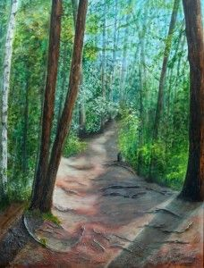 2014-13 Firmly Rooted - Out of the Woods     30 x 40 inches, Acrylic on Canvas, Copyright Wendie Donabie 2014 SOLD