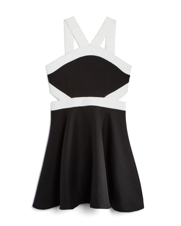 Miss Behave Girls' Two Tone Cutout Knit Dress - Sizes 8-14 | Polyester; lining…