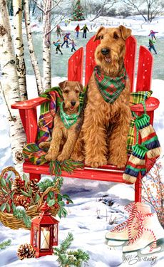 "New for 2011! Airedale Terrier Christmas Holiday Cards are 8 1/2"" x 5 1/2"" and come in packages of 12 cards. One design per package. All designs include envelopes, your personal message, and choice of greeting. Select the inside greeting of your choice from the menu below.Add your custom personal message to the Comments box during checkout."