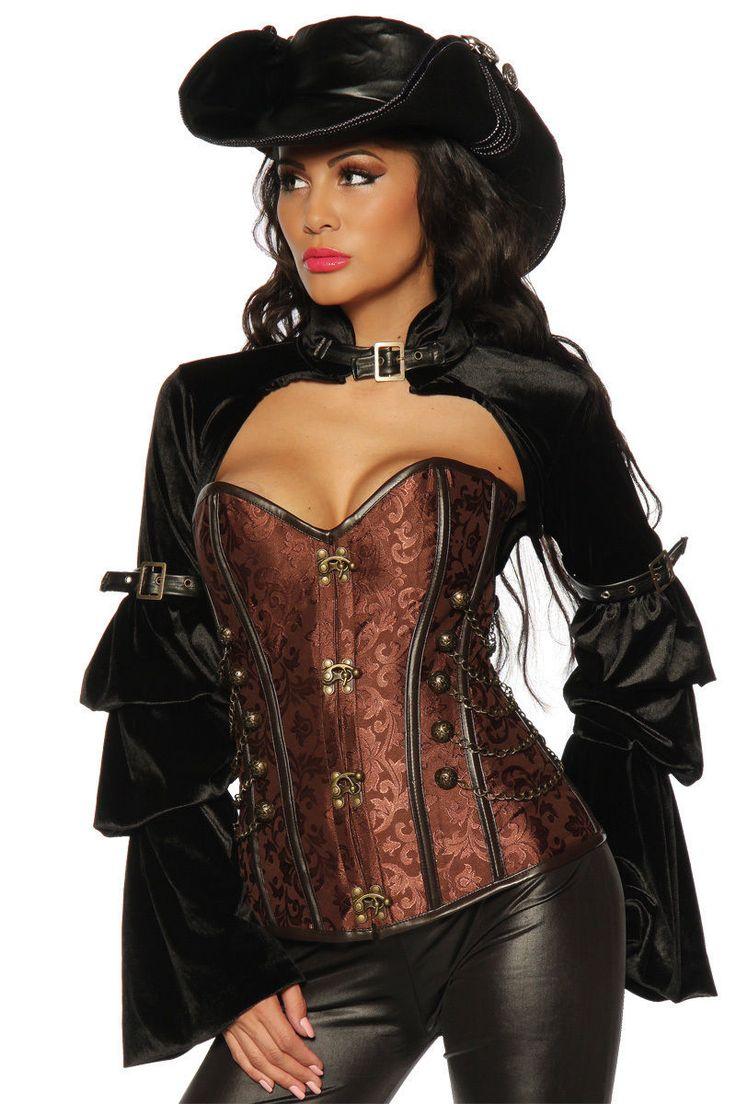 Gothic Mittelalter Steam Punk Corsage antik braun Korsage Fasching Kostüm Pirat | eBay