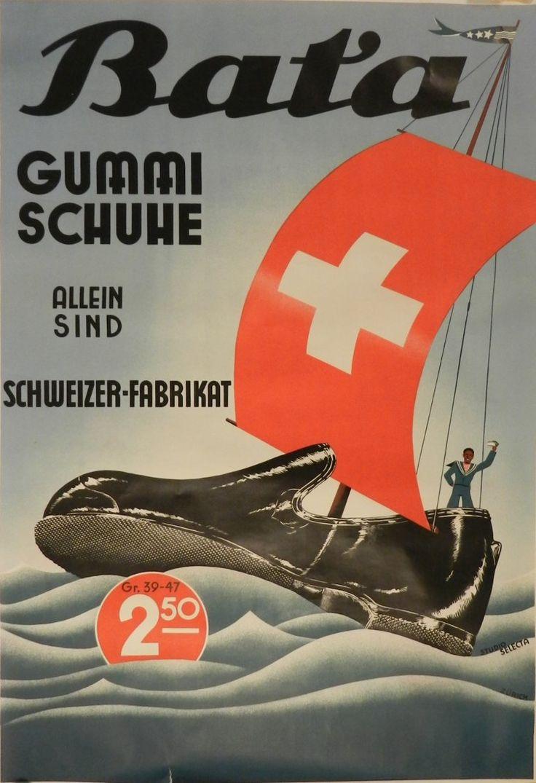 """Bata, Gummi Shuhe"" (Bata, rubber shoes), Switzerland, ca. 1930 #batashoes #bata120years #advertising"