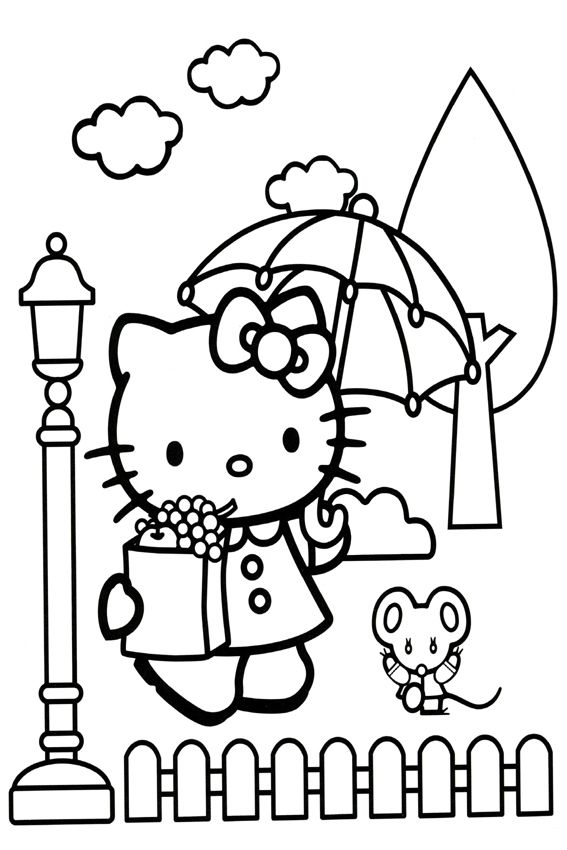 It's raining | Hello kitty colouring pages, Hello kitty ...