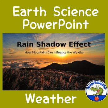 This PowerPoint explains the rain shadow effect where moist air gets blocked by mountains. Includes photos and diagrams of how rain shadow affects the windward and leeward side of a mountain range, examples of rain shadow around the world, and a five question review quiz at the end.