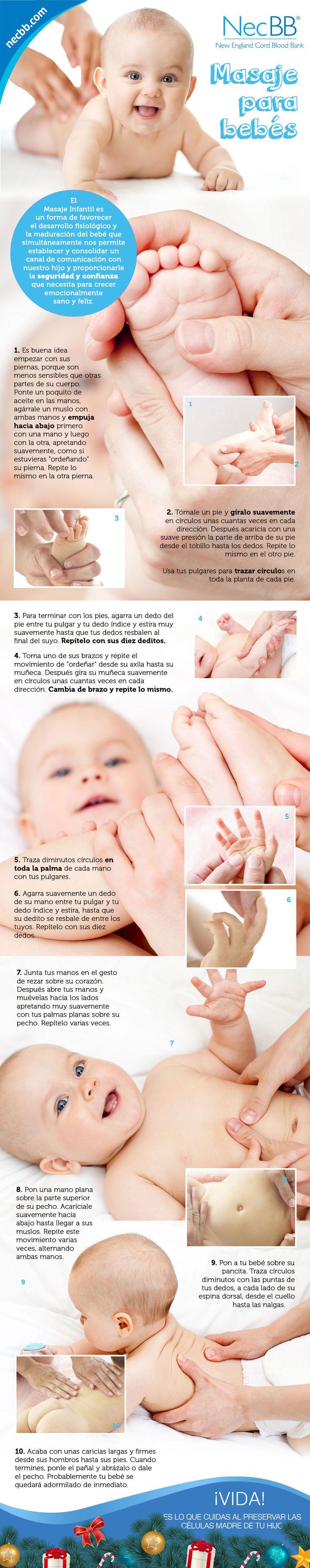 "infografía para pinterest NecBB ""Masajes para bebés"""