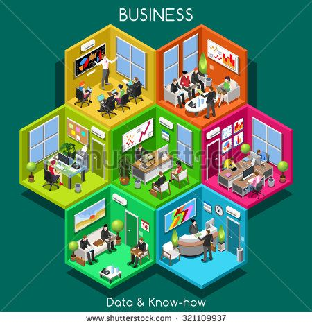 Abstract Business Executive Department. Isometric Businessman People group interior building 3D Flat Vector Icon Set. Businesspeople Reception Training Meeting Room Workplace Administrative ceo Office