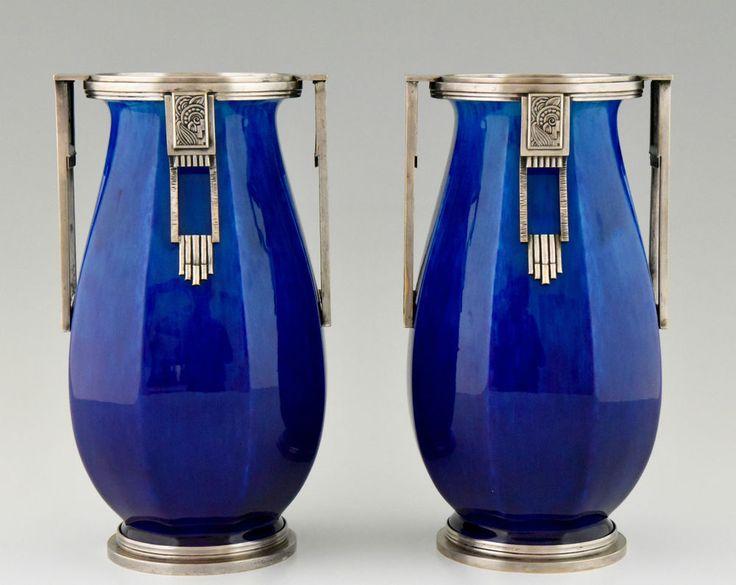 Schön Paar Französische Art Deco Vasen Paul Milet Für Sèvres, 1925 Keramik U0026  Bronze In Antiquitäten