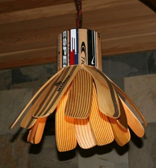 Awesome way to use old hockey sticks!! Man Cave material.