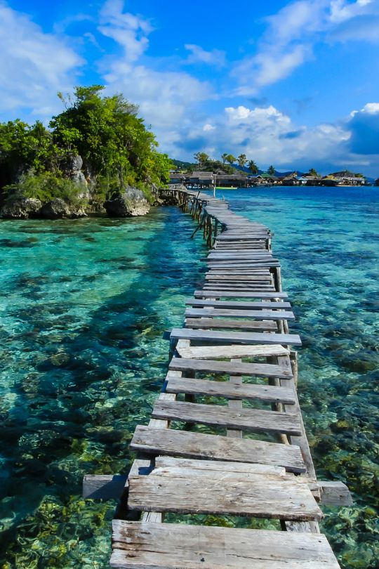 Wood boardwalk into the turquoise water.