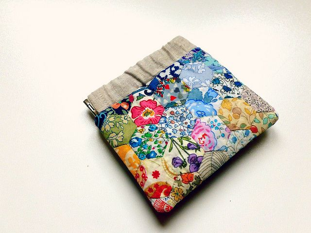 Beautiful linen and Liberty flex frame purse made for Liberty Scrap Challenge by {Leila} Where Orchids Grow, via Flickr
