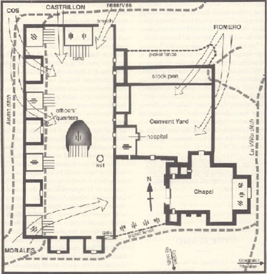 map of san antonio from the first battle of the alamo when it was rh pinterest com labeled diagram of the alamo Alamo Schematics
