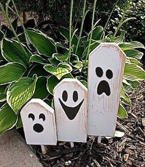 Pre FALL Sale SAVE 15%: Boo   Halloween Ghostly Trio Of Wooden Block  Characters