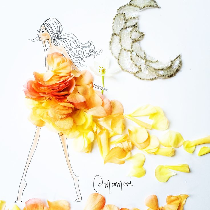 Artist Meredith Wing creates high-fashion artwork with flower petals, fruit and other found objects.