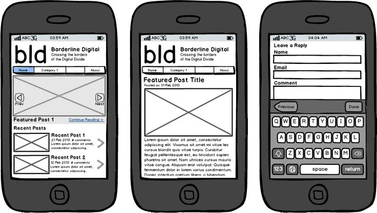 website wireframe smart phone - Google 検索