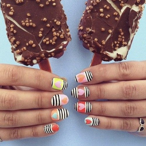 Striped and Hearts Nail Art