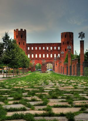 Porte Palatine - Roman Ruins in Turin Center - Piedmont, Italy