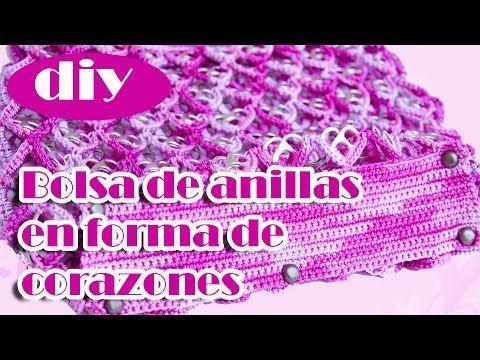 Como hacer una bolsa con anillas de lata: Bolsa de Corazones Parte 2 - YouTube