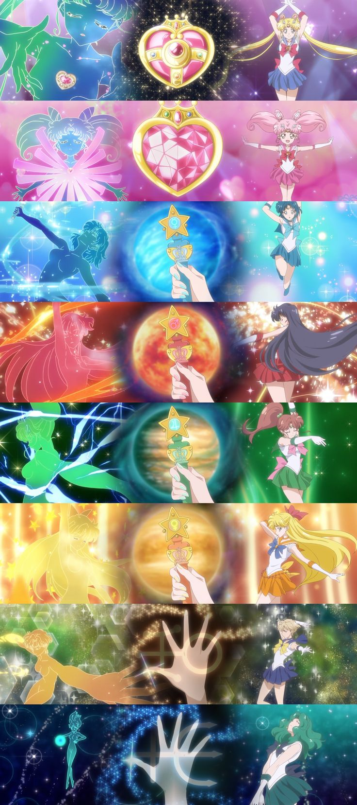 Sailor Senshi transformation's in SM Crystal III