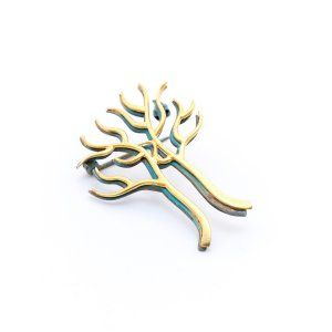 Sifis Jewellery - A treelike brooch with 2 layers, one in Oxidised Silver and one in Gold.