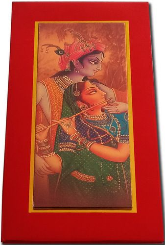 The very unique and gorgeous card is made from high grade workmanship. The card front has a beautiful presentation of Radha krishna image in traditional Indian wedding attire, contains two elegant inserts which is covered with nice hindu marriage rituals images decorated art and colorful on vellum paper. A TOTAL new concept Invite.