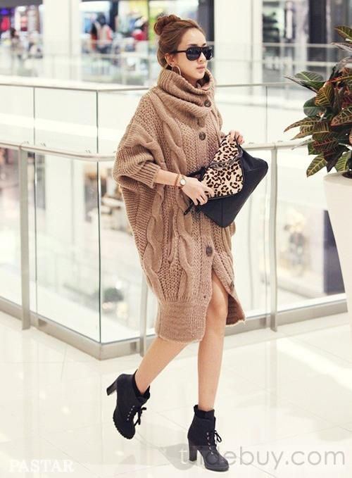 Discount Korean Style Turtle Neck Turtle Collar Long Knitwear