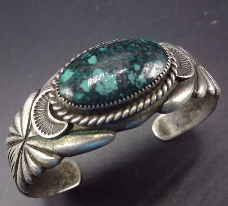 Signed Vintage NAVAJO Sterling Silver & Candelaria TURQUOISE Cuff BRACELET