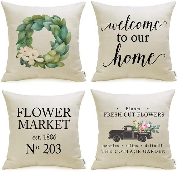 Farmhouse Pillow Covers Set Of 4 With Flower Market Welcome Etsy In 2020 Farmhouse Pillows Decorative Throw Pillow Covers Welcome Quotes