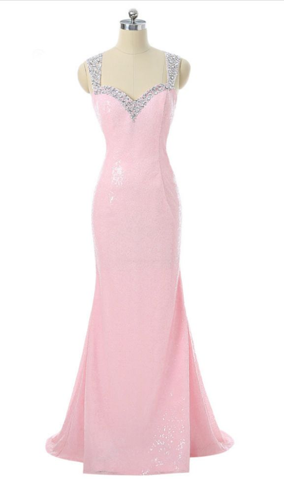 Pink Prom Dresses Mermaid Sweetheart Sequins Beaded Sexy