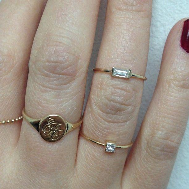 .@Vale Jewelry   #diamond #baguettecut #ring #princesscutdiamond #initials #engraved #signetri...
