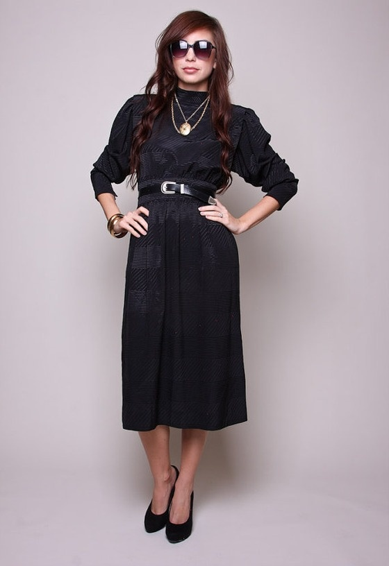 vintage dress 80s boho indie black high waisted dress with