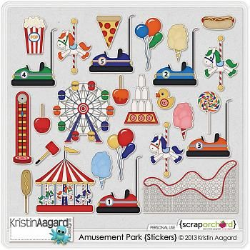 amusement park scrapbook layouts | Amusement Park Stickers