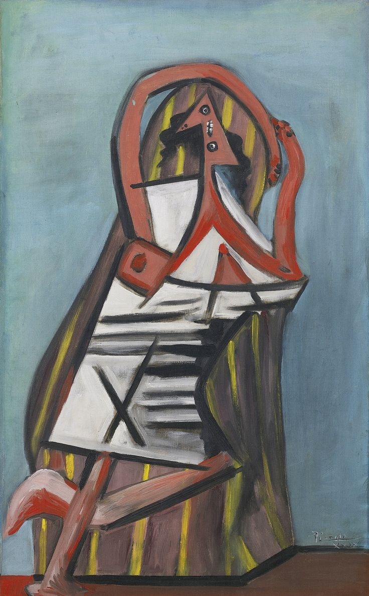 Pablo Picasso 1881 - 1973 FEMME DANS UN FAUTEUIL Signed Picasso and dated XXIX (lower right) Oil on canvas 32 by 20 in. 81.2 by 58 cm Painted on March 2, 1929.: