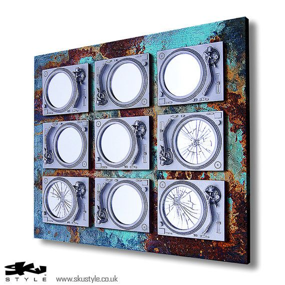 Industrial Decay Urban Music Mirror   OOAK  Silver & by SkuStyle