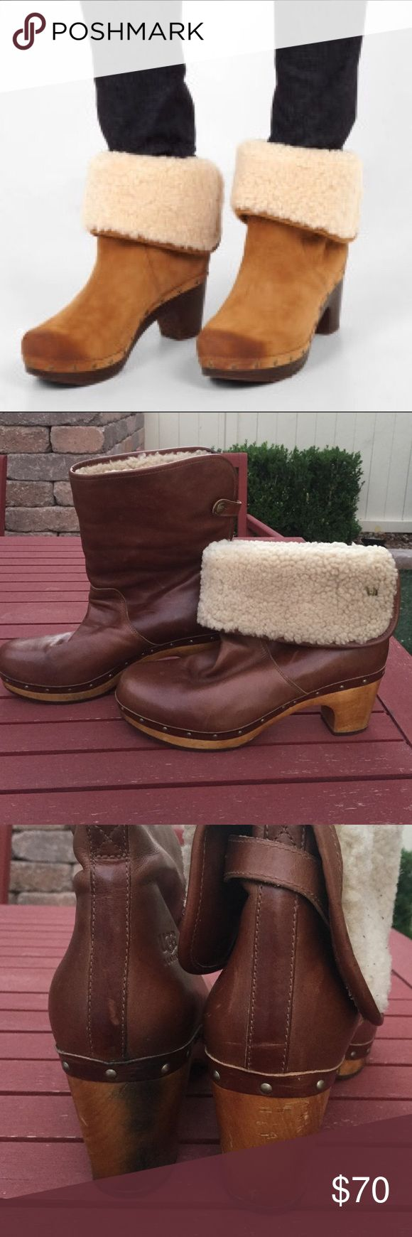 Ugg Lynnea Clog Sheepskin Boots Brown sz 10 This is a gorgeous pair of Ugg Australia Lynnea clog boots. Size 10. Some wear but has a lot of love to give this winter. Can be folded down or kept up. UGG Shoes Winter & Rain Boots