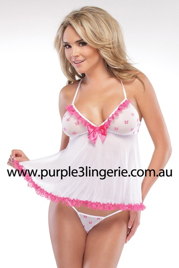 Coquette 2 Piece Mesh Babydoll with Bow Mesh Cups and Matching G-String (Style 1971). Available in Australia at www.purple3lingerie.com.au