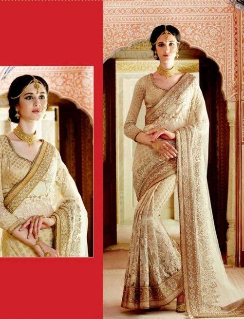 Beige Banarsi Viscose Designer Saree With Blouse $205.45 For order whtsap at 9582233490 #beige #banarsi #viscose #designer #saree