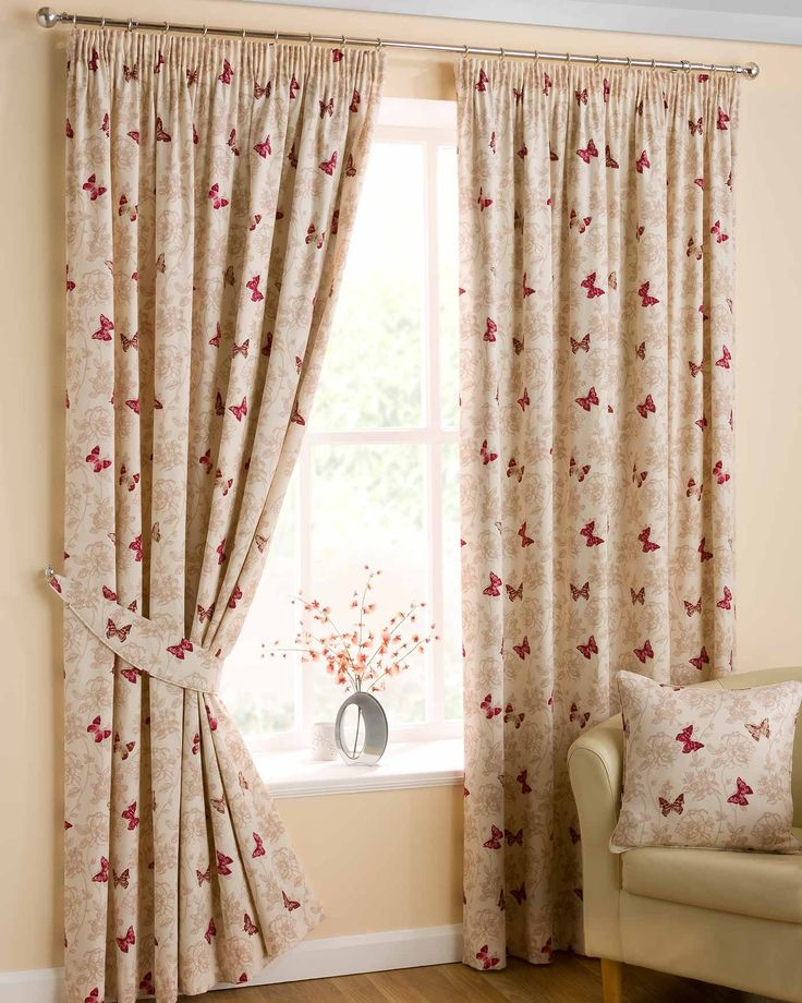 """Cream and Red 'Mariposa' Cotton Curtain Pair Butterfly Design, 46x72"""" - Belfield Furnishings"""
