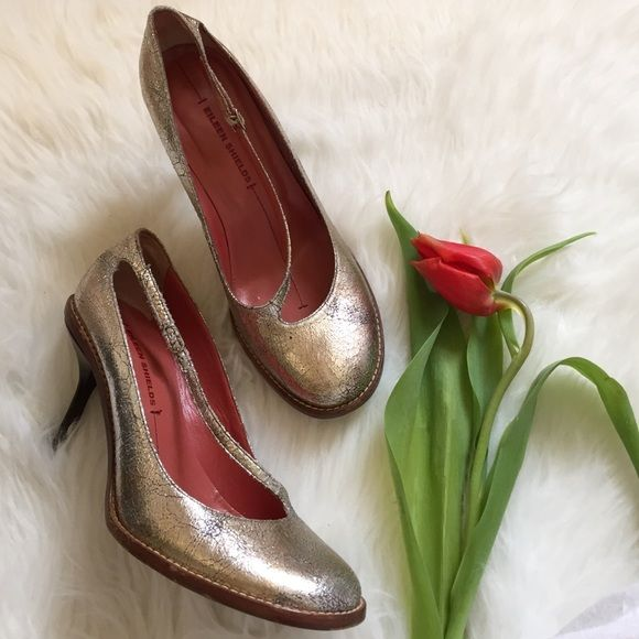 """Eileen Shields Metallic Strappy Heels 8.5 Unique metallic shoe looks gold and silver! Straps over the foot to buckle at side. 3"""" heel. Quality made in Italy. Don't miss out. Eileen Shields Shoes Heels"""