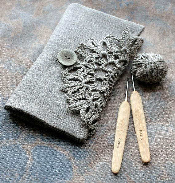 This elegant linen clutch will hold all of your crochet hooks and double pointed needles in one place.
