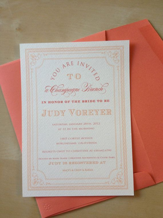 Champagne Brunch Bridal Shower Invitations by stellabellaprints, $70.00