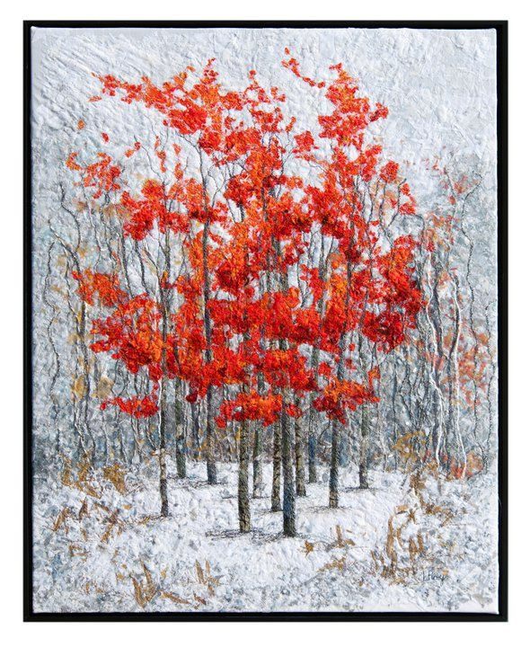 """""""Winter Flame 4″ is a beautiful 'red & white' art quilt created by Lorraine Roy using a combination of machine collage, embroidery and applique. It is 24″x30″"""