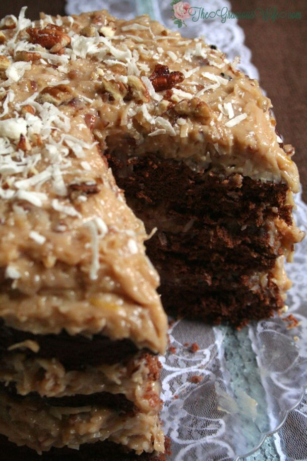 German Sweet Chocolate Cake- From TheGraciousWife.com| A traditional German Chocolate cake recipe with Coconut Pecan Frosting.  Sweet and delicious! #chocolate #cake
