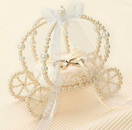 Сделано с бисером тыквы карету кольцевой подушки (Champagne Gold) самодельный комплект [свадьба принцессы свадьбы]