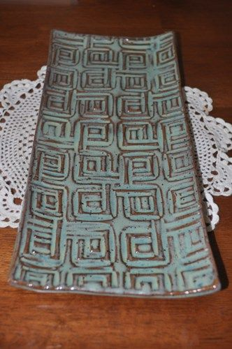 Ceramic textured tray turquoise  | junebug0611 - Ceramics & Pottery on ArtFire