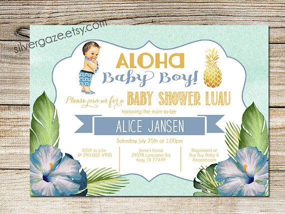 Luau Baby Boy Shower Invitation Summer Tropical Hawaiian Vintage