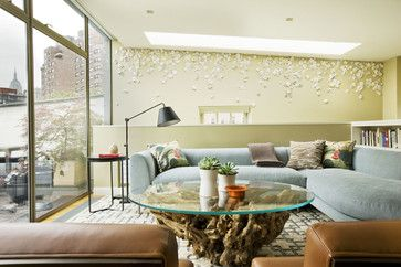 cool art wall installation family room - midcentury - Family Room - New York - Dufner Heighes Inc