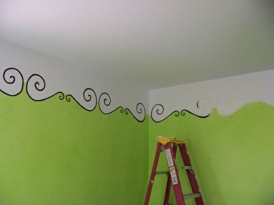 An interesting idea instead of painting all the way to the top. Allowing the ceiling color to come down on the walls.