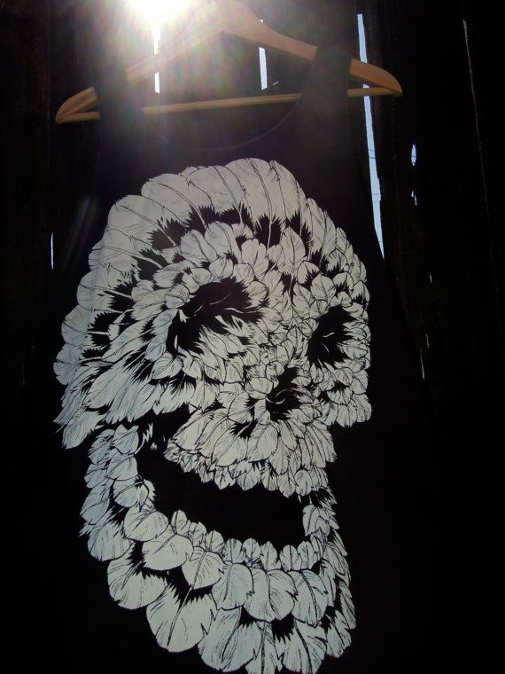 feather skull clothing typography women fabric good  by dahero, $15.99