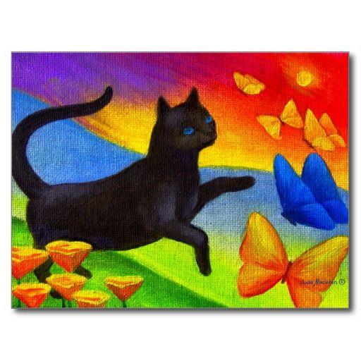 De zwarte het Schilderen van de Kat Kunst van Briefkaart | Zazzle