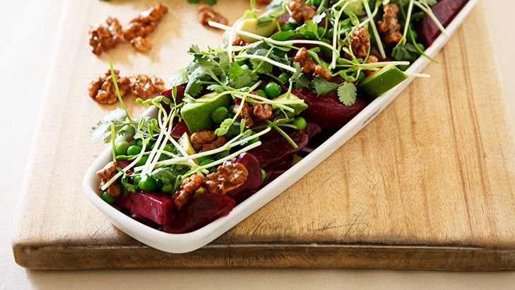 A mouthful: Beetroot and avocado salad with miso dressing and walnut brittle.