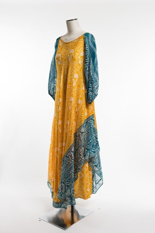 1970's Troubadour London Ethnic Print Dress 3